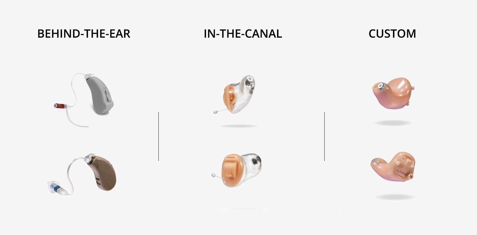 Image of various hearing aid options